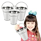 Toy Cubby Galvanized Large Metal Buckets - 6 Pieces