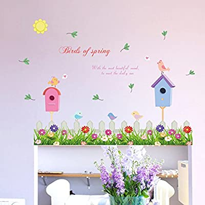 Wallpark Cute Birds Flower Fence Baseboard Removable Wall Sticker Decal, Children Kids Baby Home Room Nursery DIY Decorative Adhesive Art Wall Mural