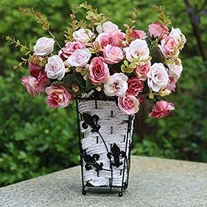 BROSCO Artificial Silk Rose Fake Flower Bush Bouquet Home Wedding Decor Light Pink 96