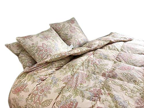 (Floral Goose Down & Feather Comforter Blanket 100% Organic Cotton Cover for All Seasons, 550+FP, Full/Queen 90x90inchs)