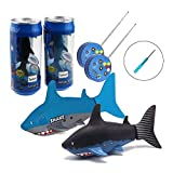 2 Pack Tipmant Mini RC Fish Shark Animal Radio Remote Control Boat Ships & Submarine Kids Electric Water Tank Bathtub Pool Toy (Black & Blue)