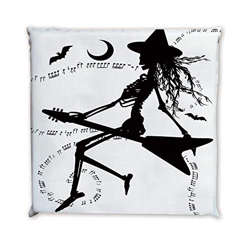 TecBillion Music Comfortable Square Chair Pad,Witch Flying on Electric Guitar Notes Bat Magical Halloween Artistic Illustration for Bedroom Living Room,17.7