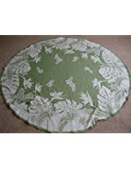 Hawaiian Tropical Fabric Tablecloth Green 70 Round
