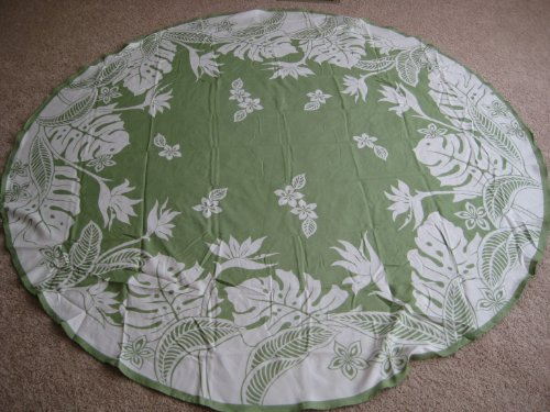 Kauhale Living Hawaiian Tropical Fabric Tablecloth (Green) (70'' round) by Kauhale Living
