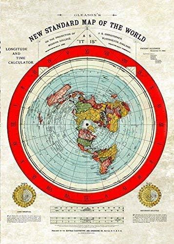 carte de la terre plate Terre Plate   Taille Géante Gleasons New Statndard Carte du Monde