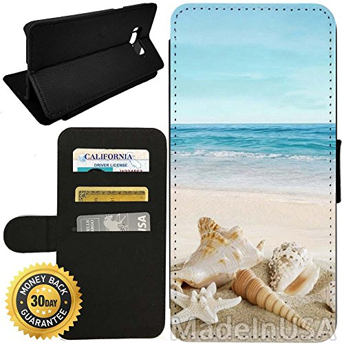 Flip Wallet Case for Galaxy S8 (Ocean Theme Starfish and Seashell On Beach) with Adjustable Stand and 3 Card Holders | Shock Protection | Lightweight | by Innosub