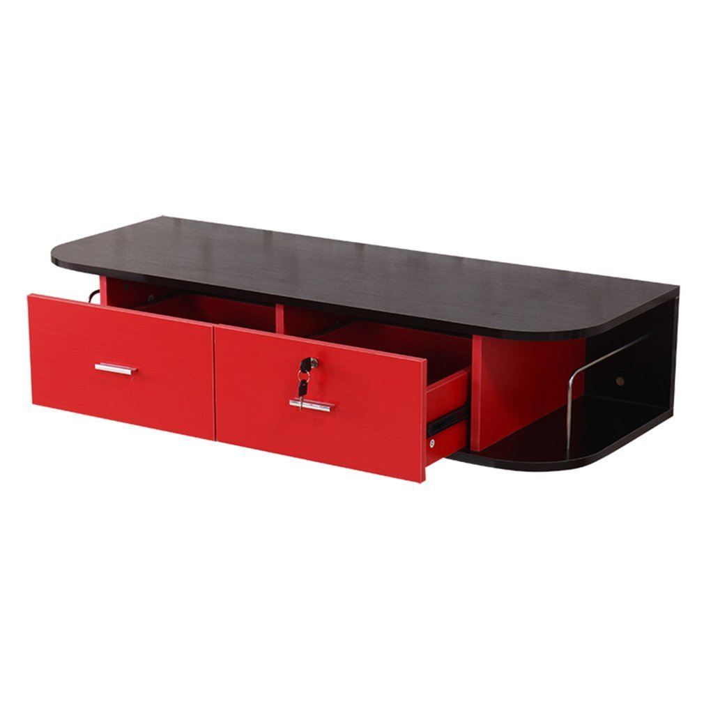Coldcedar Lockable TV Cabinet Stand by Locking Wall Mounted Living Room Entertainment Center TV Media Stand with 2 Drawer Storage (Black & Red, 41.5'' L x 16'' W x 13'' H)