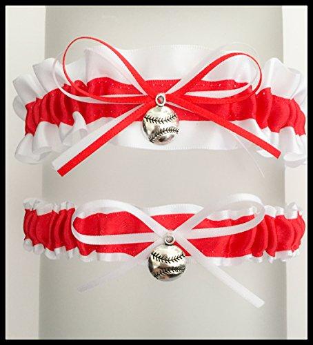 Red White Saint Louis Inspired Satin Baseball Charm Wedding Bridal Garter ()