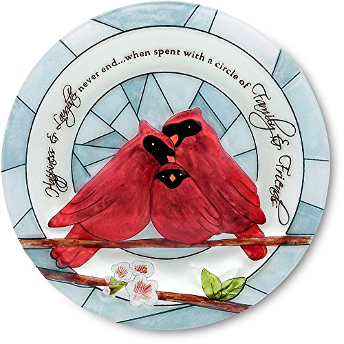 Peace, Love and Birds by Pavilion 10-Inch Diameter Glass Candle Plate, Happiness Sentiment (Cardinal Bird Plate)