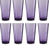 Circleware 44814 Spectrum Plum Drinking Glasses, Set of 8, 17 Ounce