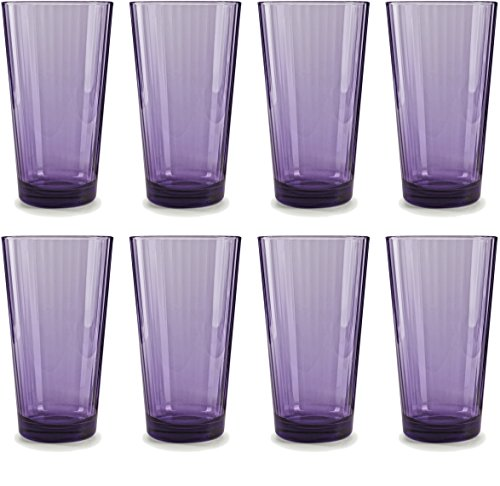 Plum Glass - Circleware 44814 Spectrum Plum Drinking Glasses, Set of 8, 17 Ounce
