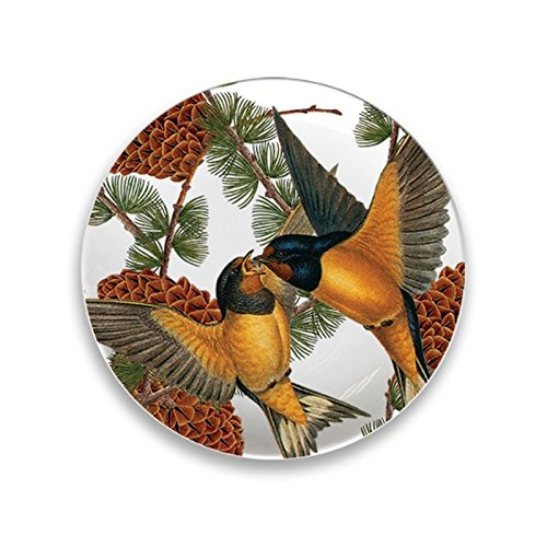 (Boston International Caskata Studio 4 Count Melamine Canape Plate Boxed Set, Pine Birds)