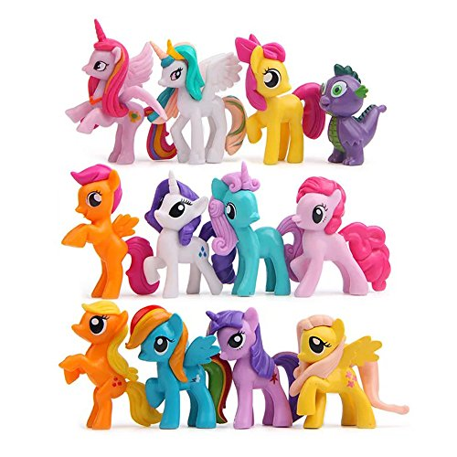 (12 pcs (1 set) Little Pony Toys Figurines Playset, Cake)