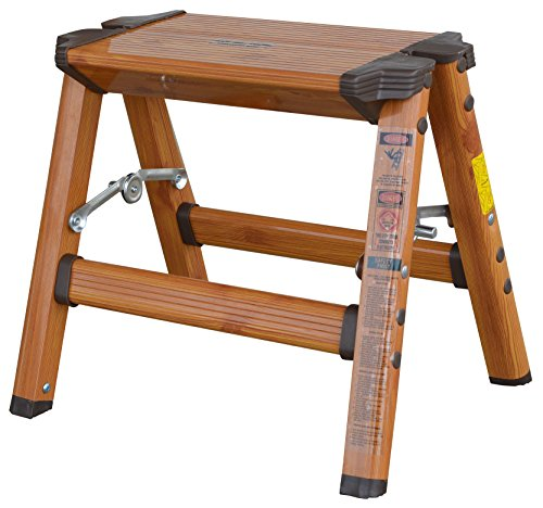 AmeriHome 700350 Lightweight Aluminum Step Stool, 1 Step, Faux Wood Finish by AmeriHome