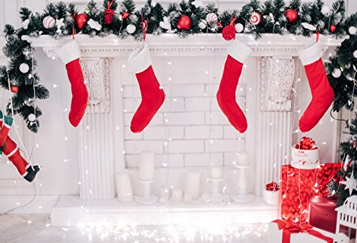 (Baocicco White Fireplace Red Stocking Christmas Eve Deco Backdrop 7x5ft Cotton Polyester Photography Backgroud Shiny Light Curtain Pine Wreath Winter Holiday Children Party Celebration)