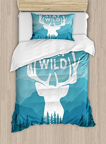- Ambesonne Adventure Duvet Cover Set Twin Size, Wilderness Themed Stay Wild Quote with Scenic Mountain Backdrop Forest, Decorative 2 Piece Bedding Set with 1 Pillow Sham, Baby Blue Dark Blue