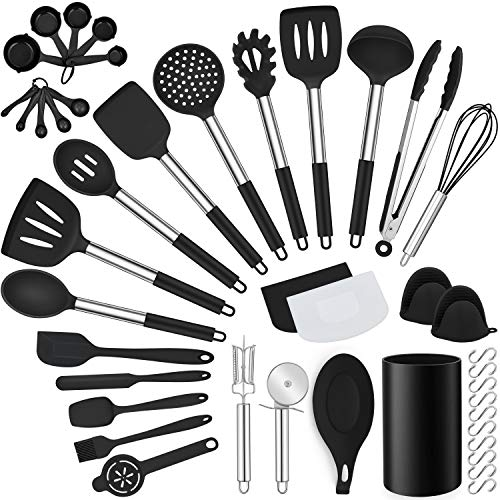 LIANYU 43 Pcs Kitchen Cooking Utensils Set, Silicone Cooking Utensils Spatula Set with Holder, Heat Resistant Kitchen…