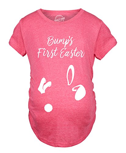 Crazy Dog T-Shirts Maternity Bumps First Easter Tshirt Adorable Pregnancy Pastel Bunny Tee -S