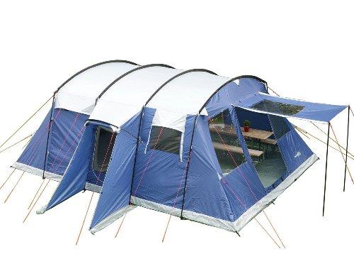 Skandika Milano 6 Personen Familien-Zelt blau, wasserdicht durch starke 5000 mm Wassersäule. Großes, geräumiges und robustes Steilwand-Zelt, Tunnel-Zelt mit 2 Schlaf-Kabinen, Insekten-Netzen und über 2 m Stehhöhe