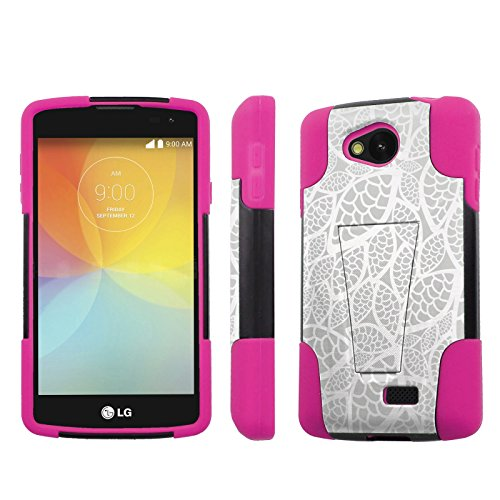 LG Tribute/ Transpyre/ LS660 F60 MS395 Case, [NakedShield] [Black/Hot Pink] Shock Proof Kickstand Case - [Silver Leaves] for LG Tribute