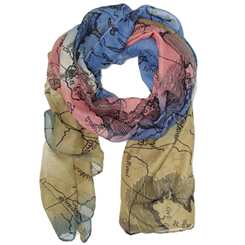 Bucasi world map global travel motif scarf in blue buy online in save gumiabroncs Gallery