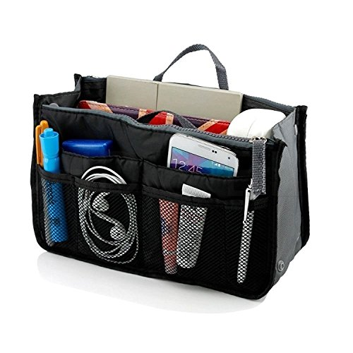 UPC 747742579998, Multi-pocket Insert Handbag Organizer, 13 Pockets Nylon Insert Purse Organizer, Insert Organizer Bag in Bag with Handles