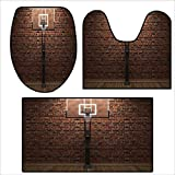 3 pieces 22 in rims - qianhehome Toilet mat 3 Pieces Microfiber Soft Old Brick and Basketball Hoop Rim Indoor Training Exercising Stadium Picture Print for ES Brown Color.Non Slip Bathroom 15.7