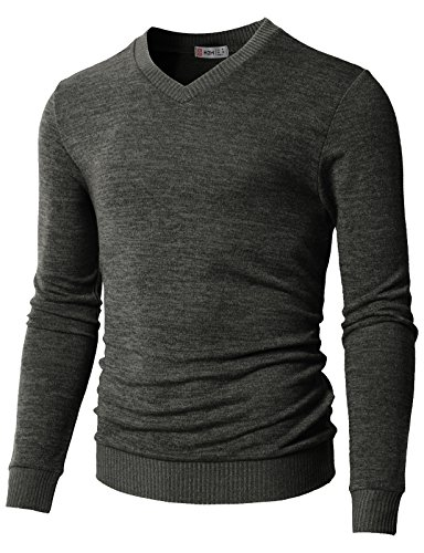 H2H Men's V-Neck Merino Wool Sweater Charcoal US XL/Asia 2XL (CMOSWL018) -