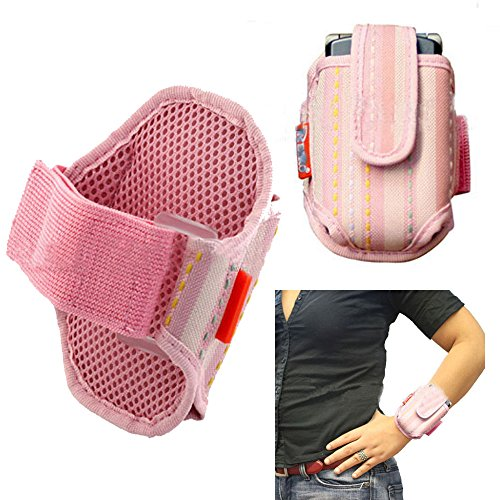 Vx5300 Lg Covers Phone - Wrist or Forearm Nylon Hook and Loop Closure Pink Case for LG vx5300.