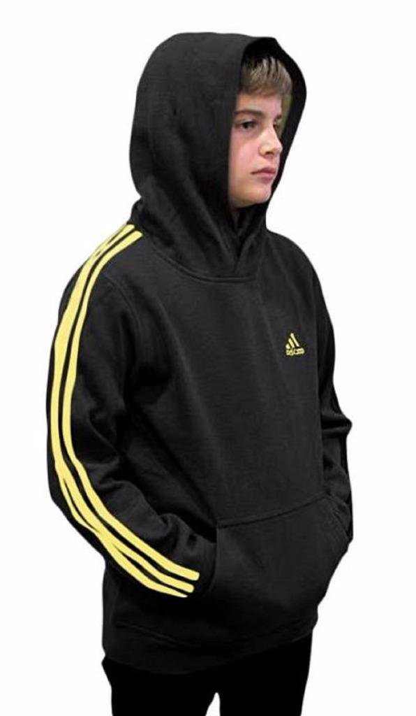 Outerstuff adidas Youth Fleece Collection (Youth Small 8, Fleece Pullover Hoodie, Black/Yellow)
