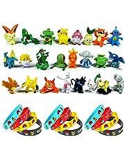 OMZGXGOD - 24 pièces Pokémon Mini Figures Action Figurines + 12 pièces Pokémon Bracelets, Enfants et Adultes Party Celebration