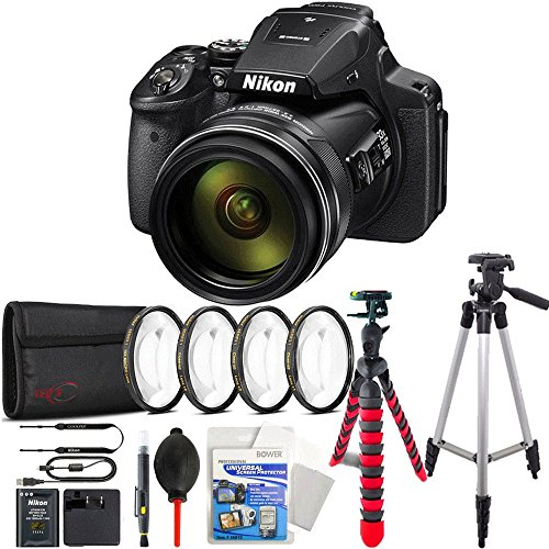 Nikon COOLPIX P900 16MP 83x Super Zoom 4k Wi-Fi GPS Digital Camera + Flexible Tripod, Tall Tripod and More Accessories