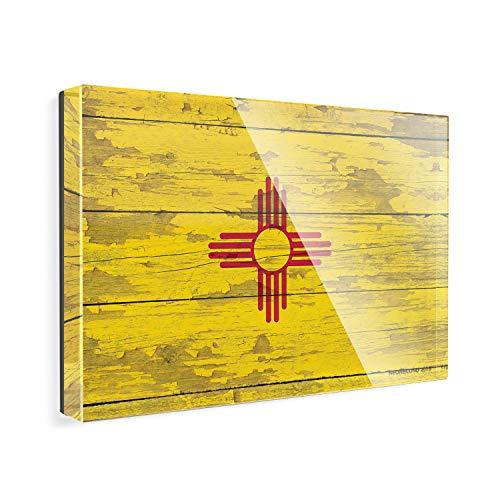 (Acrylic Fridge Magnet Flag on Wood New Mexico region: America (USA) NEONBLOND)