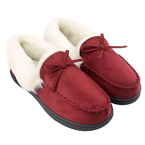 ux Fur Lined Suede House Slippers, Breathable Indoor Outdoor Moccasins (10 B(M) US, Wine) ()