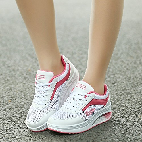 XMeden Women's Mesh Lace Up Sport Running Shoes Rx8388 White VTGzS7