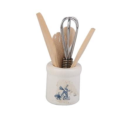 1/12 Casa de Muñecas en Minitura Utensilio de Cocina Cuchillo Batidor de Huevos Tenedor Cuchara: Juguetes y juegos
