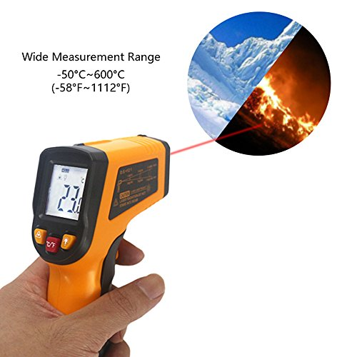 KETOTEK IR Infrared Thermometer,Non-contact Digital Laser Infrared Thermometer Temperature Gun -58℉- 1112℉(-50℃ - 600℃)with LCD Display for Kitchen Food Meat BBQ Automotive and Industrial by KETOTEK (Image #4)