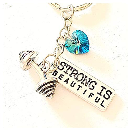(Strong Is Beautiful Keychain Silver Barbell Charm Swarovski Crystal Message of Strength Fitness Bodybuilding)