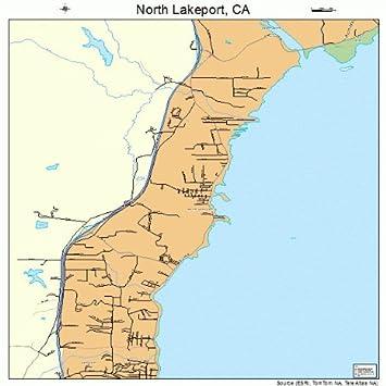 Amazon Com Large Street Road Map Of North Lakeport California Ca