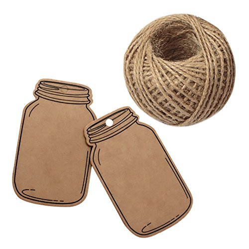 Mason Jar Tags,100 Pcs Kraft Paper Gift Tags for Wedding Party,Price Label Hang Tag with 100 Feet Jute Twine