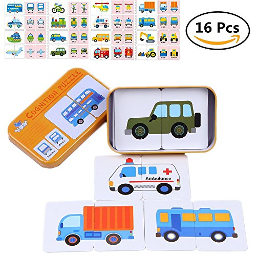 My First Learning Match It, Traffic Kit, Things That Go, Puzlle Gamess Packaged with Metal Box