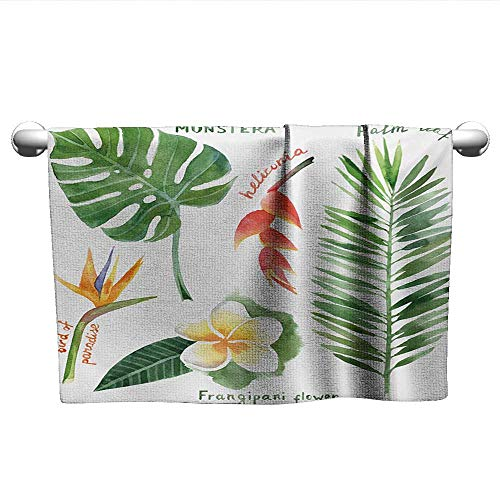(Plant,Fitness Towels Bird of Paradise Palm Leaf and Assorted Exotic Flowers Watercolor Microfiber Towels for Body Coral Earth Yellow Fern Green W 14