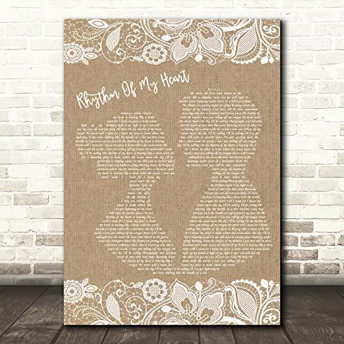 Rhythm of My Heart Burlap & Lace Song Lyric Print ()