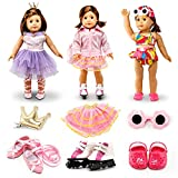 Oct17 Fits Compatible with American Girl 18' Sports Outfit 18 Inch Doll Clothes Costume 3 Sets Ballet Skating Swimming Accessories