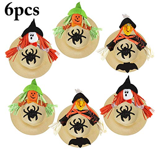 Straw Hat, Coxeer 6PCS Straw Hat Cap Beach Sun Hat Creative Art Painting Straw Hat for Kids Adults Birthday Party Hats Childrens DIY Straw Summer Hats for 4th of July Independence Day -