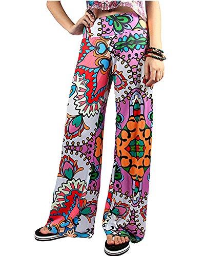 Mujer Pantalones Estampado Llamarada Ancho Pierna Palazzo Pantalones Para Mujer 1