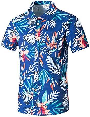 LFNANYI Camisa de Playa de Manga Corta para Hombre Verano con Estampado de Hojas Hombres Casual Playa Hawaii Camisas Top de Verano M-5XL L: Amazon.es: Deportes y aire libre