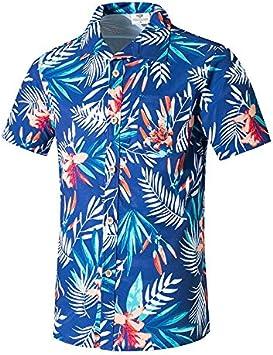 LFNANYI Camisa de Playa de Manga Corta para Hombre Verano con Estampado de Hojas Hombres Casual Beach Hawaii Camisas Top de Verano M-5XL XXL: Amazon.es: Deportes y aire libre