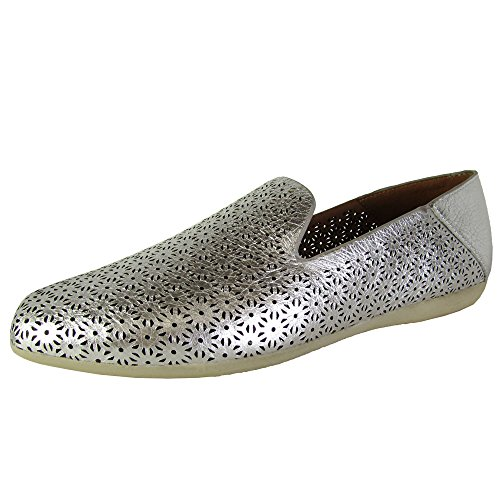 Gentle Souls Womens Erin Leather Laser Cut Flat Shoes, Silver, US - Erin Leather
