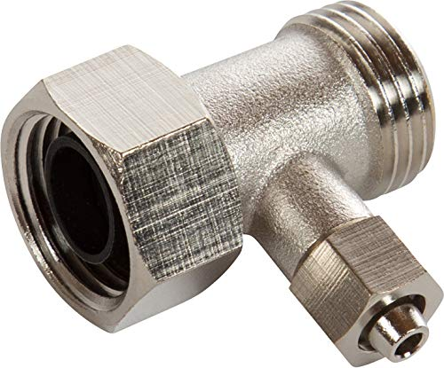 """Luxe Bidet 1/2"""" x 1/2"""" x 8mm Metal T-adapter with Rubber Washer and Metal Nut"""